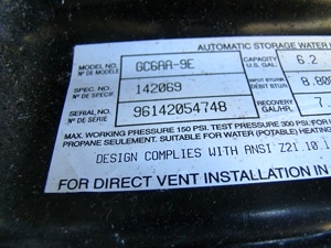 ATWOOD WATER HEATER MODEL GC6AA-9E 6.2 GAL FOR SALE